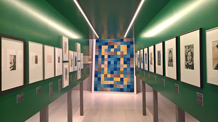 "Photographs, and carpet by Gertrud Arndt, as seen at Four ""Bauhausmädels"", Angermuseum, Erfurt"
