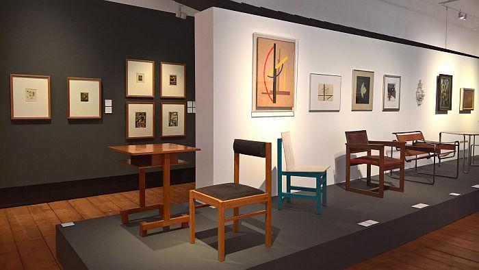 A chair and tea table by Hans Martin Fricke (1925), as seen at Between Utopia and Adaptation. The Bauhaus in Oldenburg, Landesmuseum für Kunst und Kulturgeschichte Oldenburg