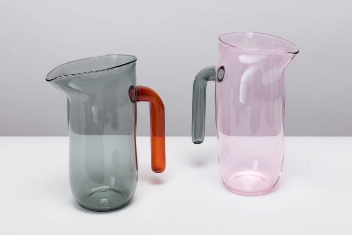 Coloured incalmo glass jugs by Jochen Holz, part of Radical Craft Direktorenhaus Museum für Kunst Handwerk Design Berlin