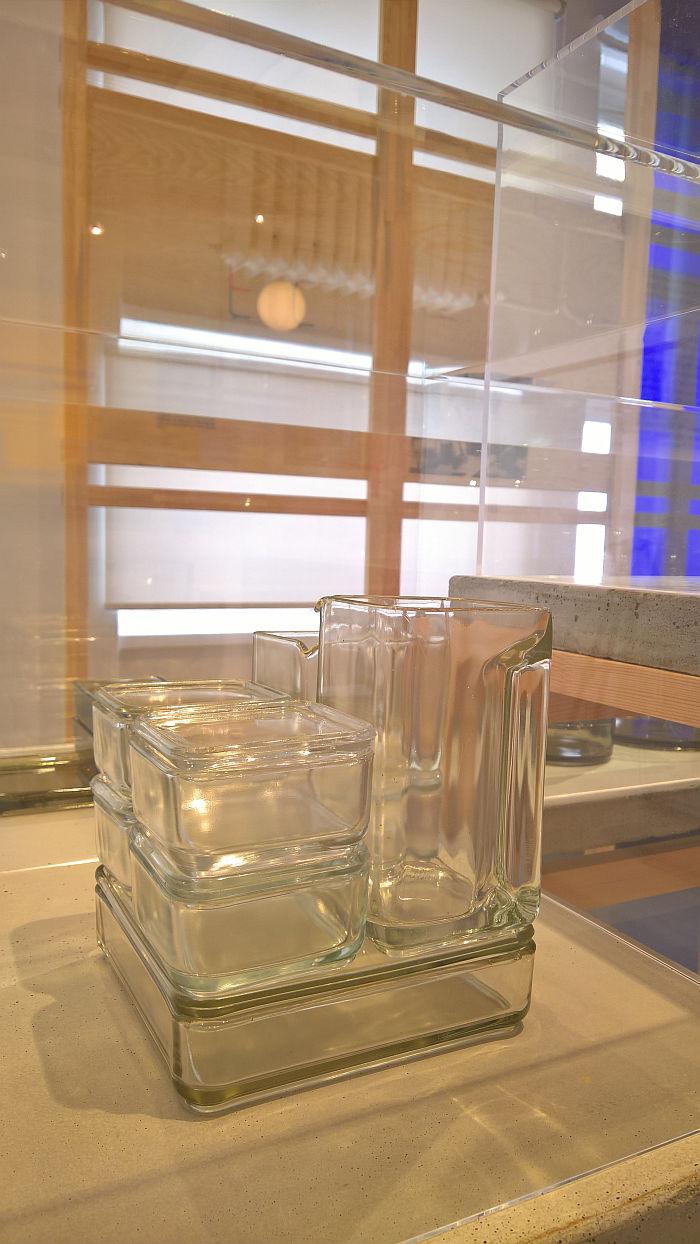 Kubus system by Wilhelm Wagenfeld for Vereinigte Lausitzer Glaswerke, as seen at Shaping everyday life! Bauhaus modernism in the GDR, Dokumentationszentrum Alltagskultur der DDR, Eisenhüttenstadt