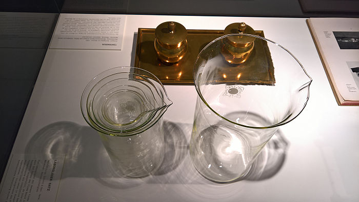 Laboratory beakers from Schott & Gen. Jena, as seen at Unique Piece or Mass Product?, Werkbundarchiv – Museum der Dinge, Berlin