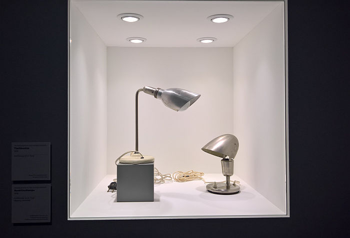Two lamp designs by Hin Bredendieck and Sigfried Giedion for B.A.G. Turgi (1932), as seen at Between Utopia and Adaptation. The Bauhaus in Oldenburg, Landesmuseum für Kunst und Kulturgeschichte Oldenburg