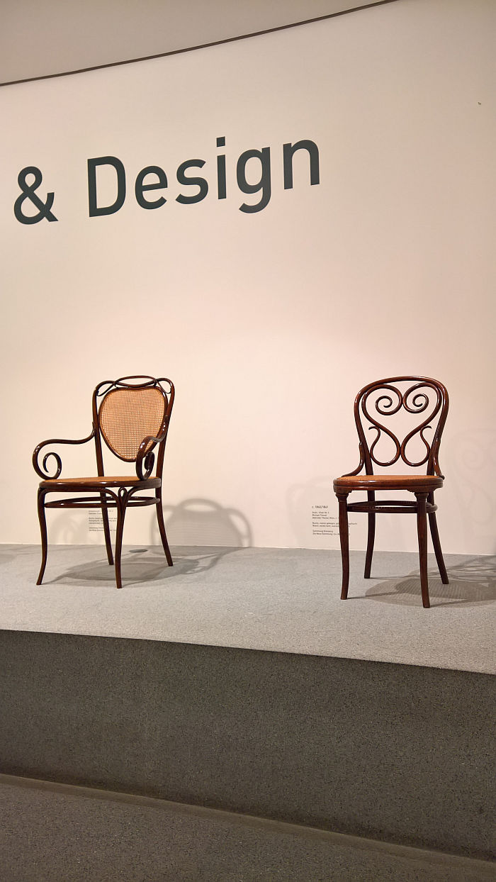 Nr 6 armchair (l) & Nr 4 by Michael Thonet, as seen at Thonet & Design, Die Neue Sammlung - The Design Museum, Munich