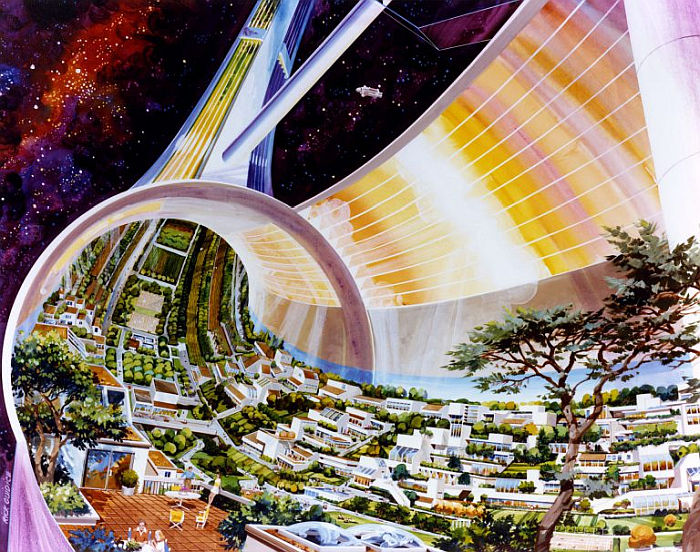 Rick Guidice, Toroidal Colonies, cutaway view exposing the interior ( © Rick Guidice, courtesy NASA Ames Research Center History Archives & San Francisco Museum of Modern Art)