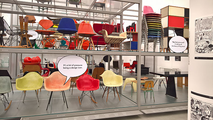 The pressures of fame as bemoaned by Charles & Ray Eames DAX, as seen at Living in a Box. Design and Comics, Vitra Design Museum Schaudepot
