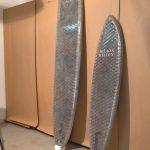 Cardboard Surfboard by Sofia Leurink & Joel Friedlin, as seen at Look Summer 2019, Hochschule für Gestaltung und Kunst, Basel