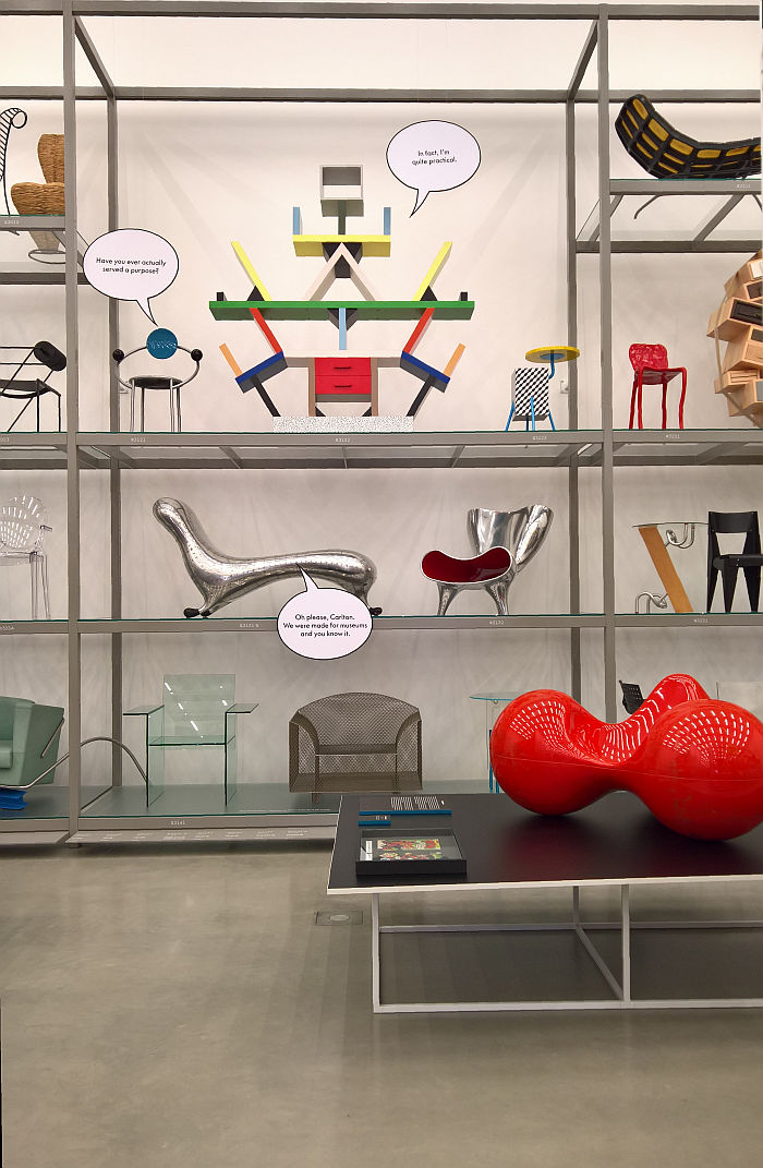 A discourse on design between Michele de Lucchi's First Chair, Etorre Sottsass's Carlton & Marc Newson's Lockheed Lounge, as seen at Living in a Box. Design and Comics, Vitra Design Museum Schaudepot