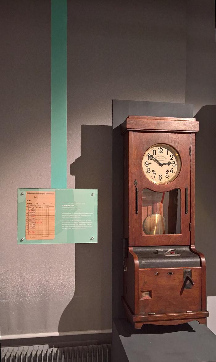 Punch clock by Uhrenfabrik J Schlenker-Grusen (ca 1930), as seen at Time, Freedom and Control. The Legacy of Johannes Bürk, the Uhrenindustriemuseum Villingen-Schwenningen