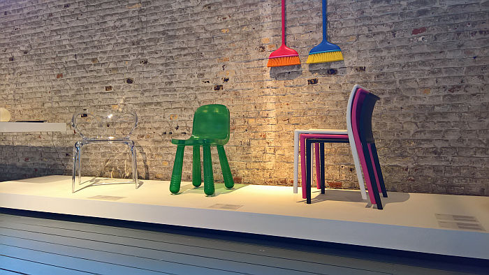 Mago by Stefano Giovannoni, Sparkling Chair/Still Chair by Marcel Wanders, Air Chair by Jasper Morrison, all for Magis & Ava bridge chair by Zhong Song Wen for Roche Bobois, as seen at Design on Air, Centre d'innovation et de design au Grand-Hornu