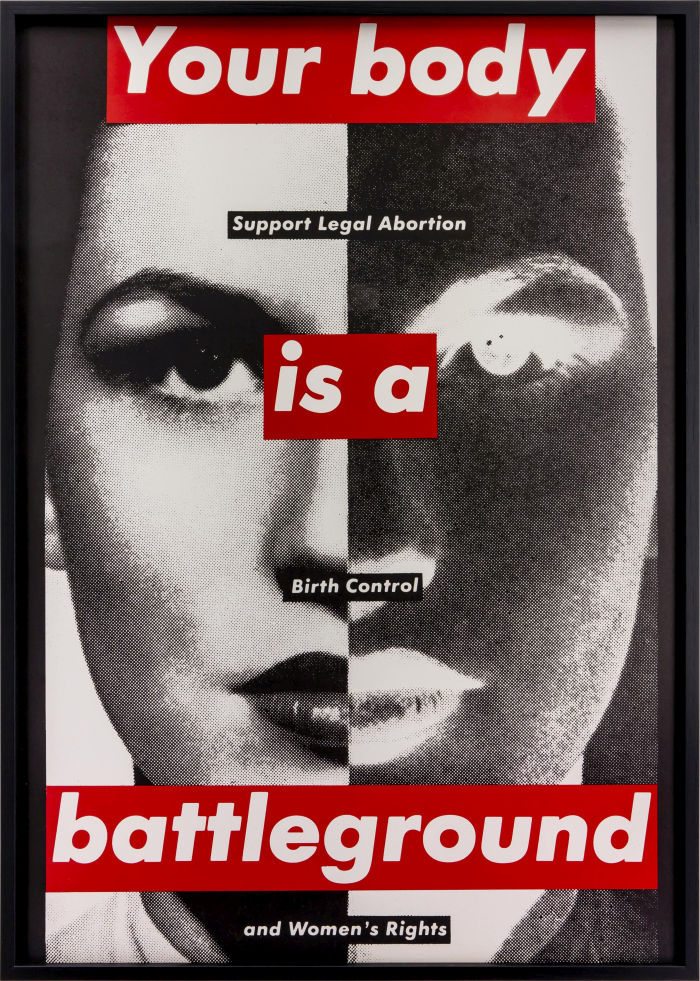 How times change! Barbara Kruger, Untitled (Your Body is a Battleground), 1989, (Photo: Jochen Arentzen, Courtesy of the artist and Sprüth Magers.)
