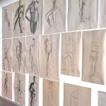 Results of the life drawing class, as seen at Werkschau 2019, FH Potsdam