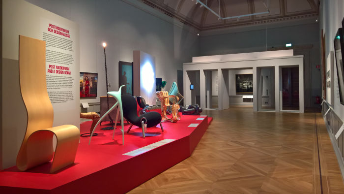 Postmodern furniture and the Brandenburg Gate, as seen at 1989 - Culture and Politics, The National Museum Stockholm