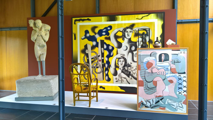 A recreation of the 1935 Les arts dits primitifs sales exhibition, as seen at Mon univers, Pavillon Le Corbusier, Zürich