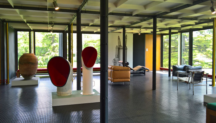 A Spanish Tinaja, ships cowls, and furniture by Le Corbusier/Jeanneret/Perriand, as seen at Mon univers, Pavillon Le Corbusier, Zürich