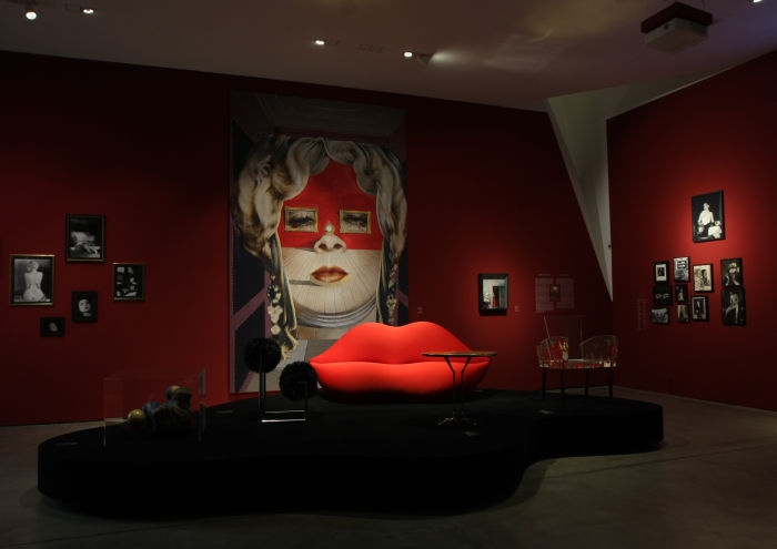 Mae West's Face which May be Used as a Surrealist Apartment by Salvador Dalí and Marilyn/Bocca by Studio65 for Gufram, as seen at Objects of Desire. Surrealism and Design 1924 - Today, Vitra Design Museum