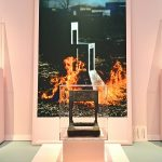 Lassù by Alessandro Mendini, on fire and as charred remains, as seen at Mondo Mendini, The Groninger Museum, Groningen