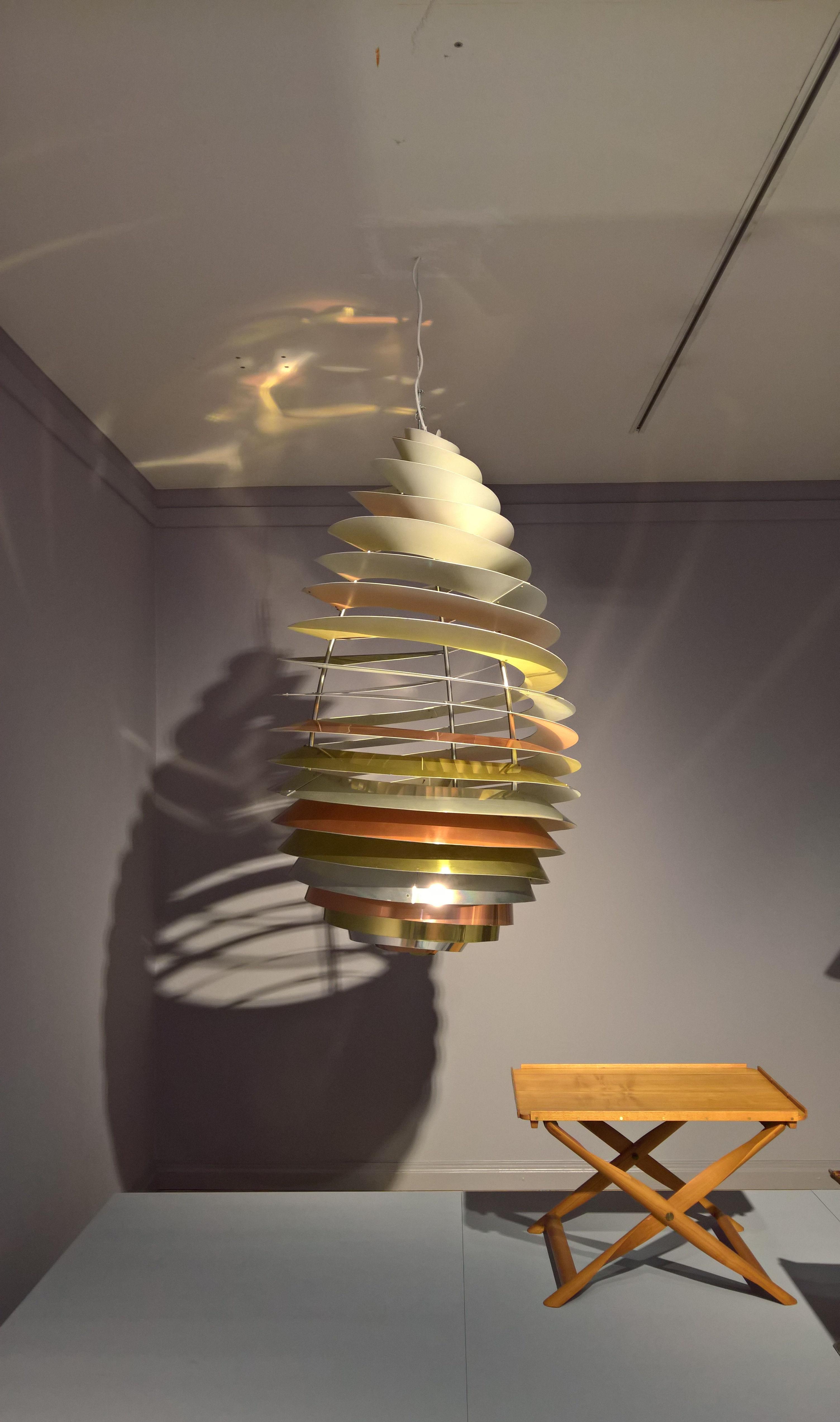 Spiral by Poul Henningsen for Louis Poulsen & Propeller stool by Kaare Klint, as seen at Nordic Design. The Response to the Bauhaus, Bröhan Museum, Berlin