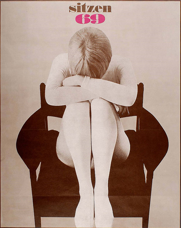 No wonder she's upset, it 1969 and there are only wooden chairs in Vienna!! The original Sitzen 69 poster by Christoph Schartelmüller (image © and courtesy MAK Wien)