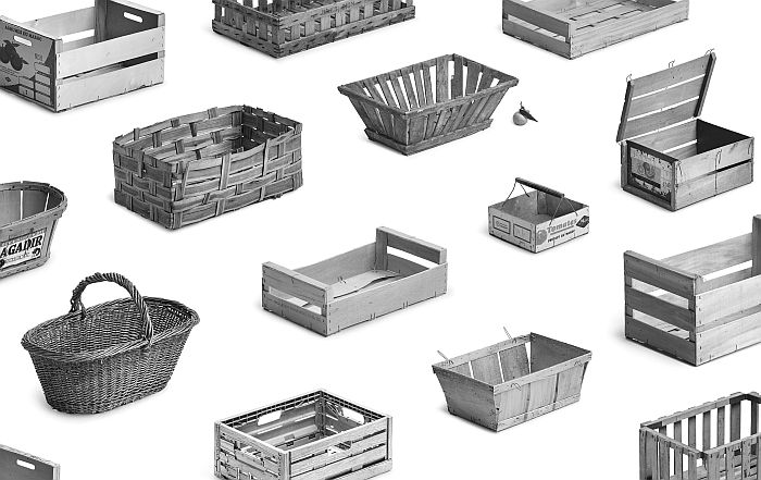 Study on fruit and vegetable crates by Collections Typologie, part of Typology. An Ongoing Study of Everyday Items at the Vitra Design Museum Gallery (Photo © Collections Typologie, courtesy Vitra Design Museum)