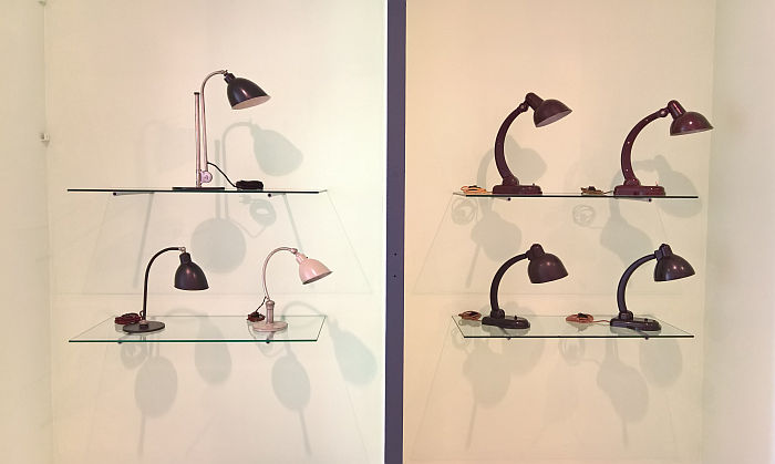 Lamps by Christian Dell for Rondella (l) and Römmler (r) (and a Russian copy of the Römmler lamp!!), as seen at Unknown Modernism, Brandenburgisches Landesmuseum für moderne Kunst, Cottbus