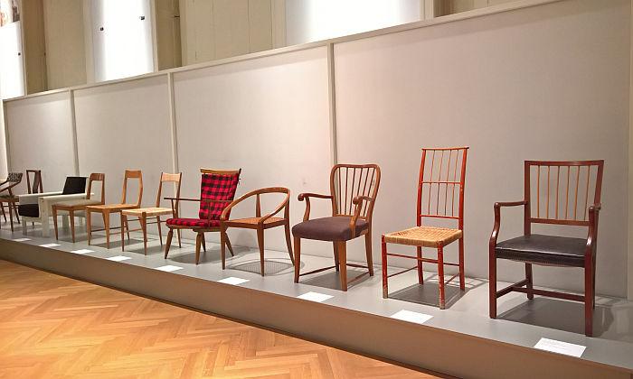 A collection of wooden chairs originally presented as part of Sitzen 69, as seen at Sitzen 69 Revisited @ MAK – Museum für angewandte Kunst, Vienna