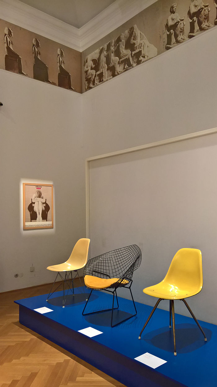 The original Sitzen 69 exhibition poster looks over chairs that weren't included, , as seen at Sitzen 69 Revisited @ MAK – Museum für angewandte Kunst, Vienna