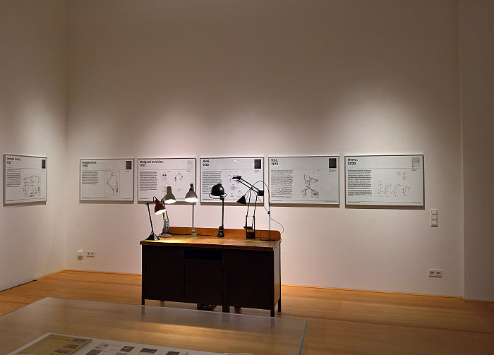 Positionable lamps and their patents, as seen at 100 Years of Positionable Light, Museum für Kunst und Gewerbe, Hamburg