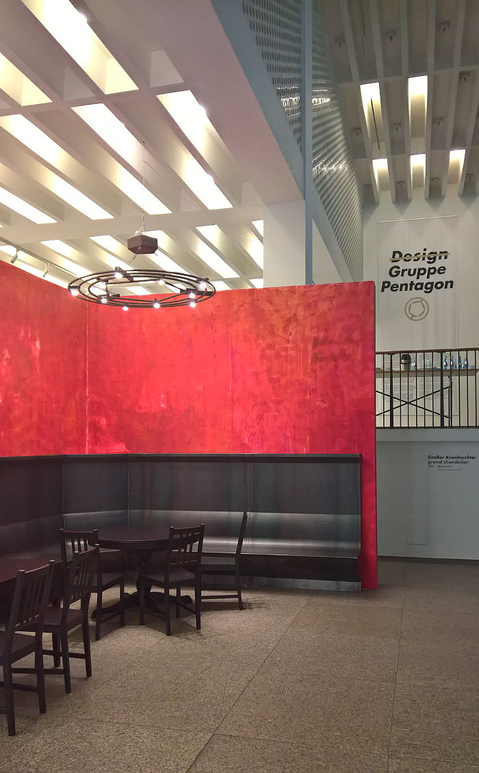 """Reconstruction of Cafe """"Casino"""" from documenta 8, as seen at Design Gruppe Pentagon, Museum für Angewandte Kunst Cologne"""