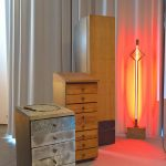 Two sideboards and a cupboard by Wolfgang Laubersheimer & a neon lamp by Gerd Arens, as seen at Design Gruppe Pentagon, Museum für Angewandte Kunst Cologne