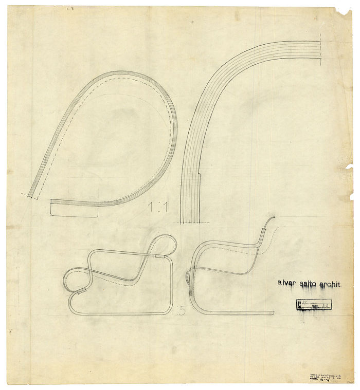 Sketches for the Paimio and Small Paimio armchairs (Image © Alvar Aalto Foundation, courtesy Takenaka Carpentry Tools Museum)