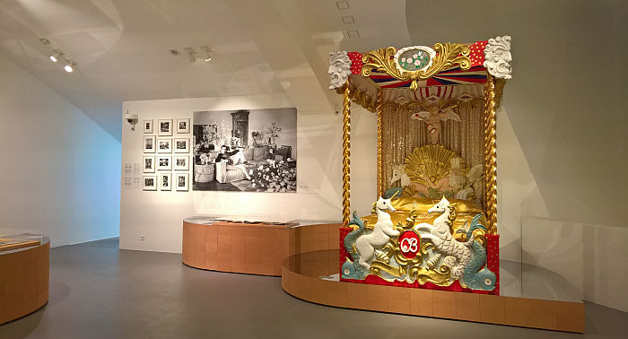 The circus bed from and photographs of Ashcombe House by Cecil Beaton, as seen at Home Stories: 100 Years, 20 Visionary Interiors, Vitra Design Museum