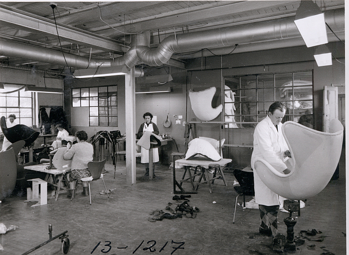 Production of the Egg chair at Fritz Hansen in 1963. For all its modernity it is and was a largely handcrafted object (photo © and courtesy Fritz Hansen)