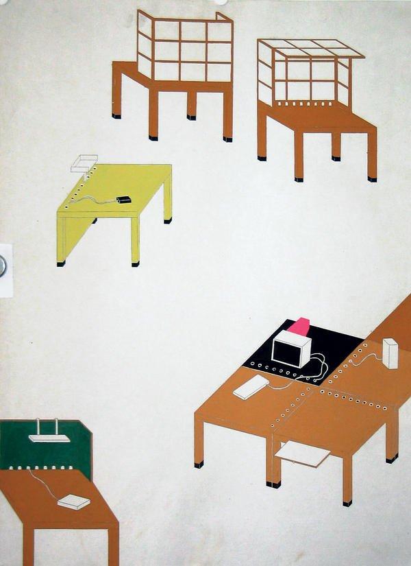 Visualisation of part of Ettore Sottsass's nomadische Büro concept for Citizen Office, Vitra Design Museum