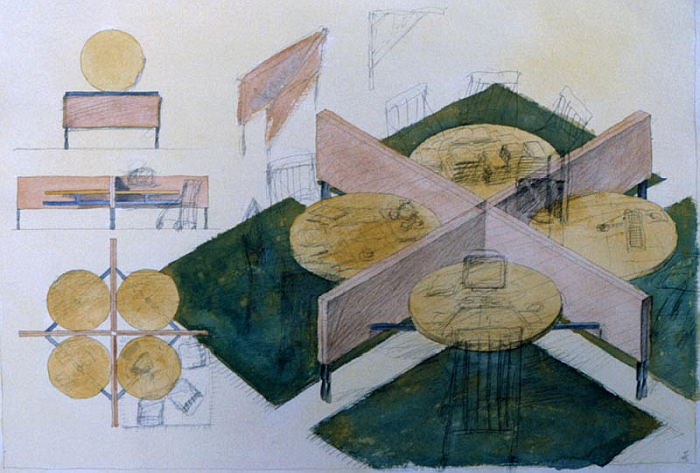 Sketch by Michele De Lucchi, with Geert Koster of the desk constellation for das flexible Büro concept for Citizen Office, Vitra Design Museum