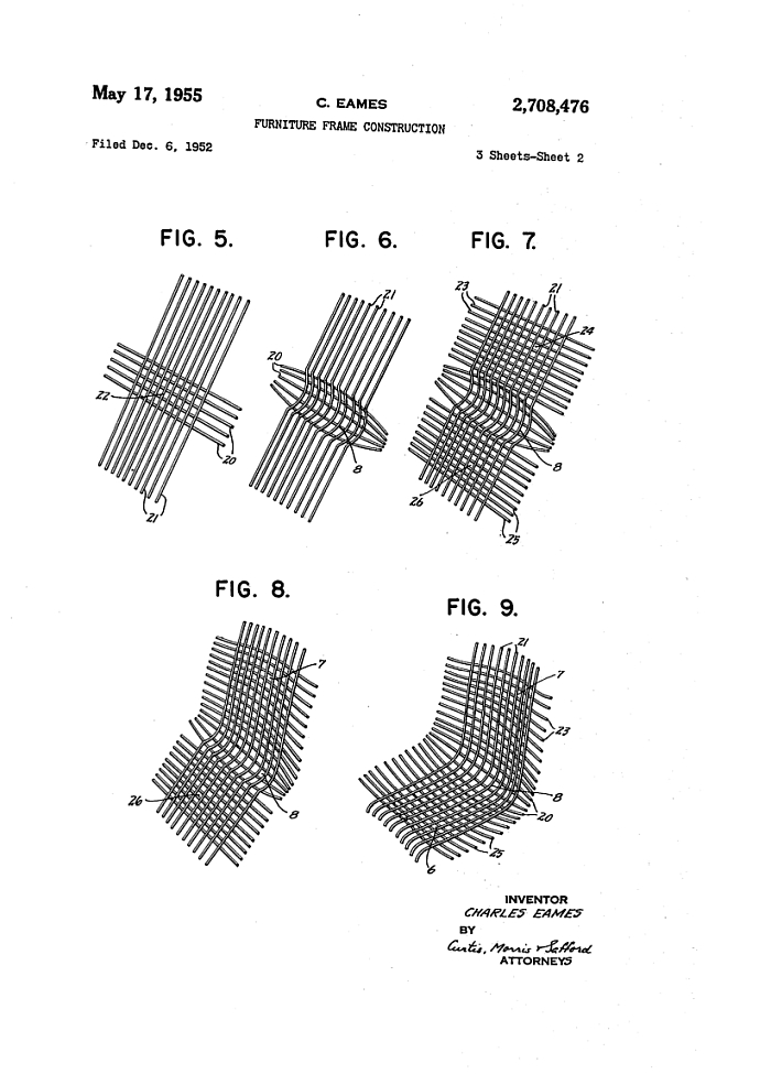 "Eames US Patent 2,708,476 for ""Furniture Frame Construction"""