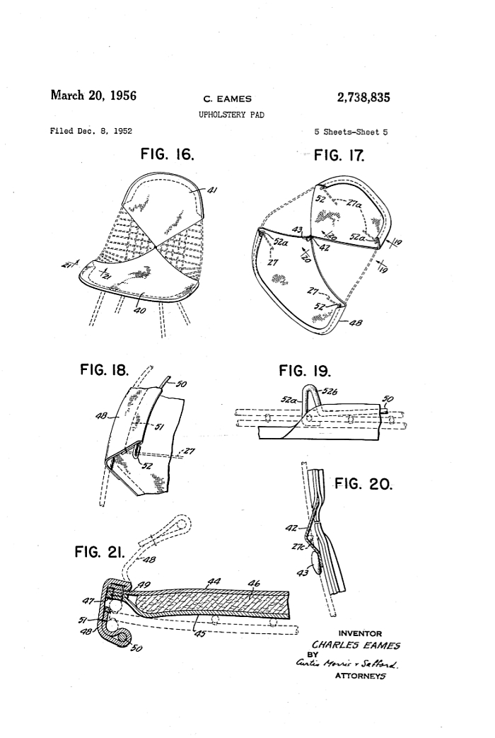 "Eames US Patent 2,738,835 for an ""Upholstery Pad"""
