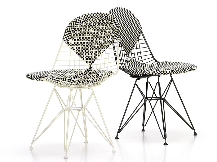 "The Eames DKR Upholstered Wire Chair through Vitra, here with the ""bikini"" covers...."
