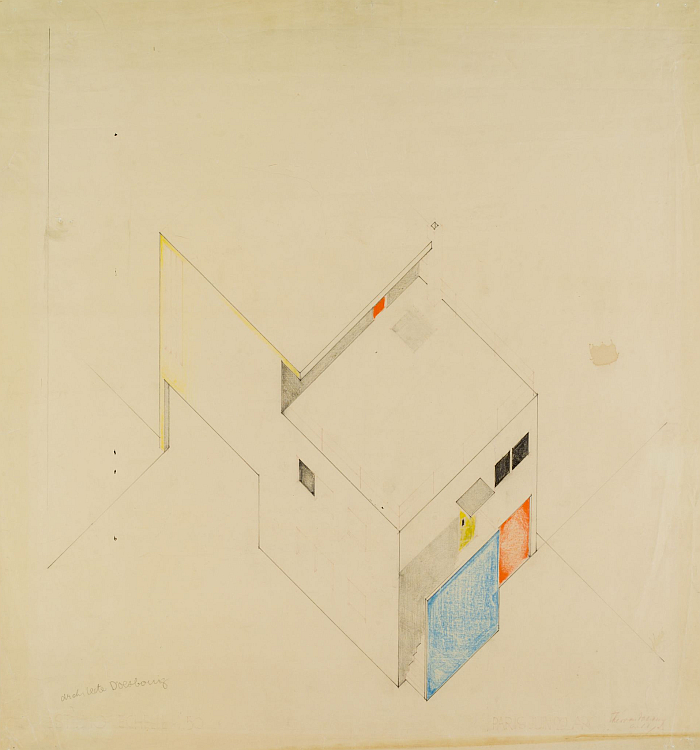 Design for the studio/atelier, Meudon-Val-Fleury, 1929, by Theo van Doesburg (Image © and courtesy of Collectie Het Nieuwe Instituut)