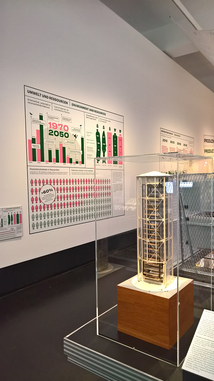 A model of Othmar Ruthner's 1963 growing tower, as seen at Future Food. What will we eat tomorrow?, Deutsches Hygiene-Museum, Dresden