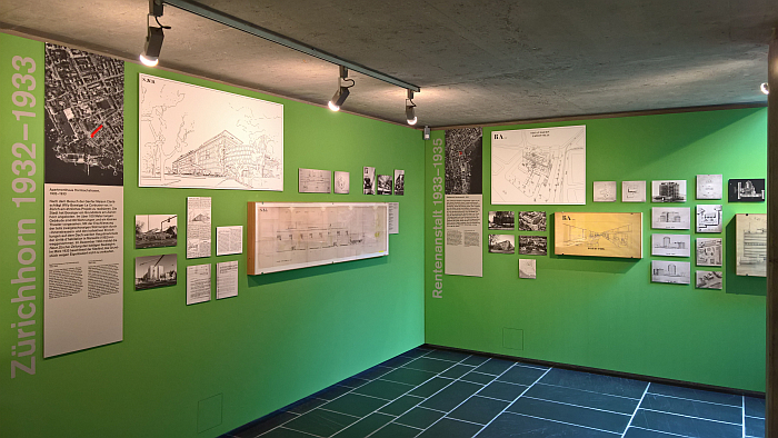 Presentations of the Hornbachstrasse apartment block and Rentenanstalt competition, as seen at Le Corbusier and Zürich, Museum für Gestaltung, Pavillon Le Corbusier, Zürich
