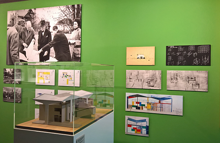 Sketches and model of the contemporary Pavillon Le Corbusier, as seen at Le Corbusier and Zürich, Museum für Gestaltung, Pavillon Le Corbusier, Zürich