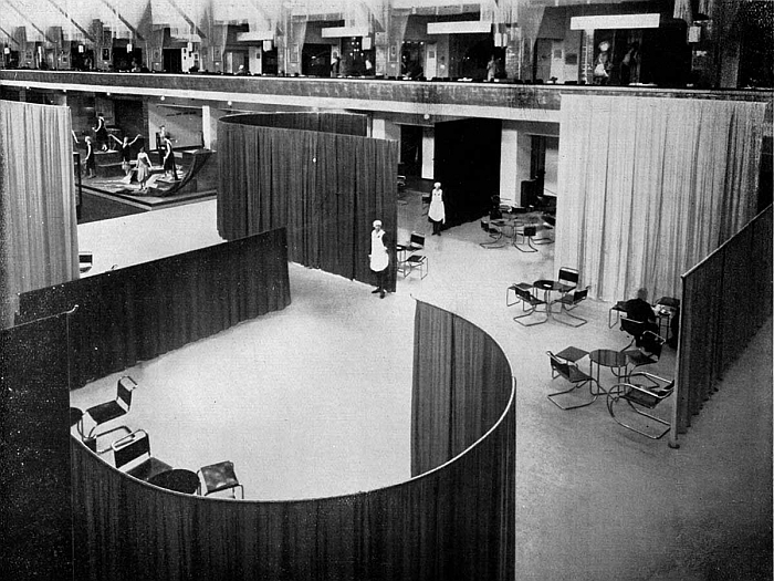 Cafe Samt Seide by Lilly Reich and Mies van der Rohe, realised in context of the 1927 exhibition Die Mode der Dame in Berlin