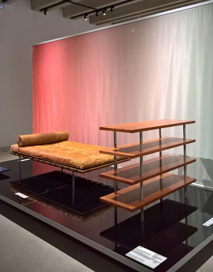 """Shelving and Day Bed, by.....? Or as the Bauhaus Museum Weimar asks, """"Who designed it, Mies van der Rohe or Lilly Reich?"""" (clue: in all probability both are primarily Lilly Reich)"""