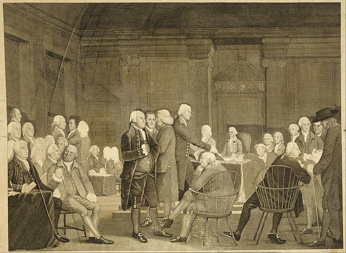 Congress Voting Independence print by Edward Savage after Robert Edge Pine. Benjamin Franklin and Charles Carroll can be seen in Windsor chairs....