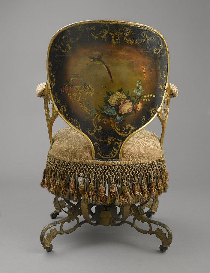 The painted back of a Centripetal Spring Chair by Thomas E. Warren for the American Chair Company (Image © and courtesy Brooklyn Museum, Brooklyn)