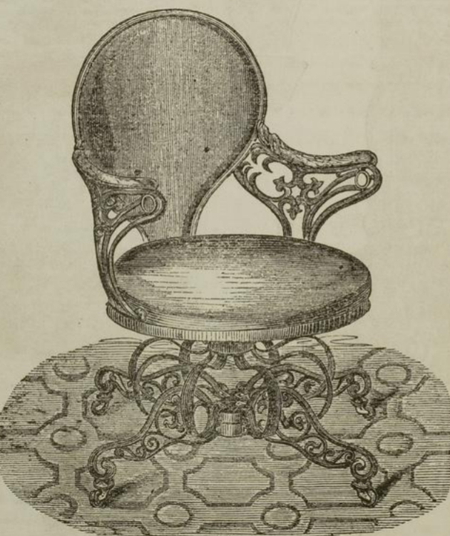 A Centripetal Spring Chair by Thomas E. Warren for the American Chair Company as depicted in The illustrated exhibitor, 1851
