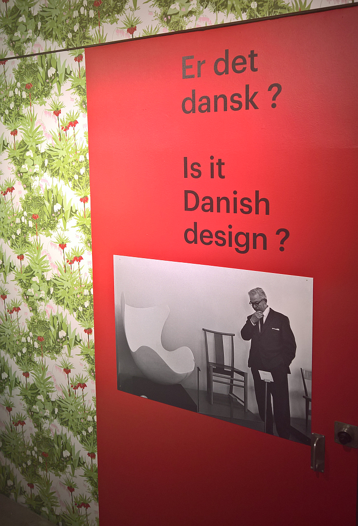 Arne looks uncertain...... The wallpaper is called Crown Imperial, as seen at Arne Jacobsen - Designing Denmark, Trapholt, Kolding