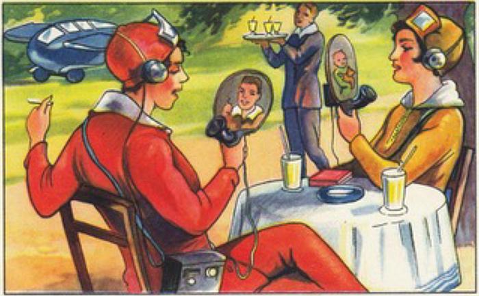 """""""Future fantasies"""", Echte Wagner Album, Nr.3, 1930, part of Back to Future - Technikvisionen zwischen Fiktion und Realität, Museum für Kommunikation, Frankfurt (photo courtesy Museum für Kommunikation, Frankfurt)"""