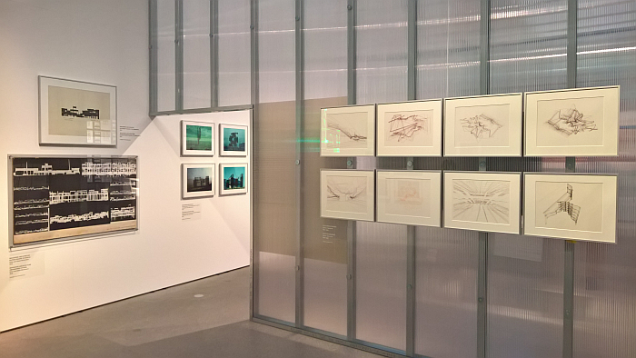 Imaginary Architecture by Otto Beckmann (l) and Plotter Drawings by Günter Günschel (r), as seen at The Architecture Machine. The Role of Computers in Architecture, the Architekturmuseum der TU München