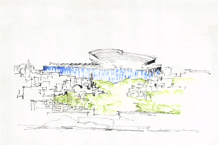 Sketch for the Baghdad Art Museum in Iraq (1957–58) by Alvar Aalto, part of The Dream of a Museum. Alvar Aalto Museum Designs. Alvar Aalto Museum